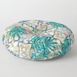 Muted Moroccan Mosaic Tiles with Palm Leaves Floor Pillow