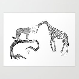 Giraffe/Cheetah Art Print
