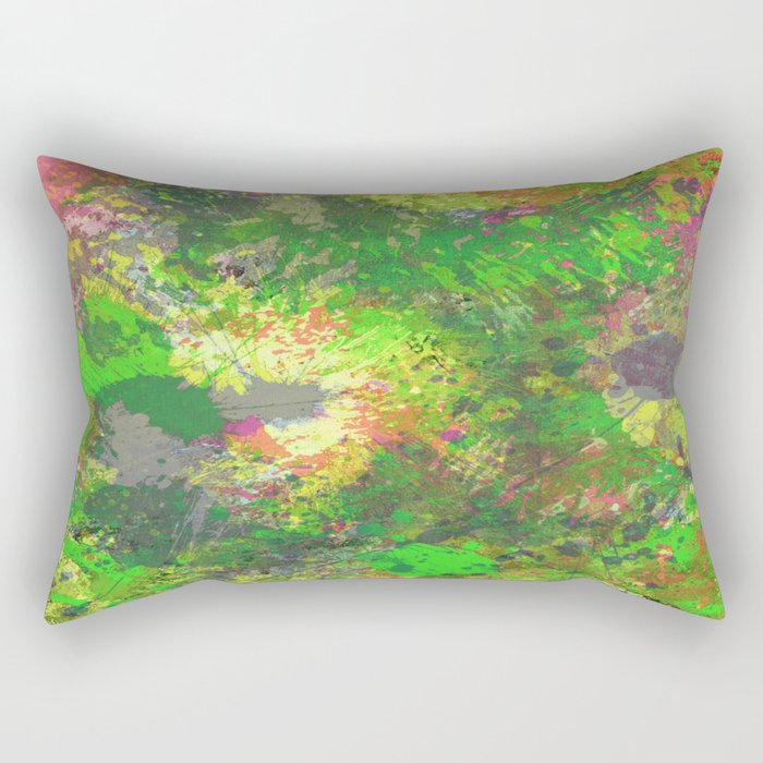 Jungle Of Colour - Multi Coloured Abstract Painting Rectangular Pillow