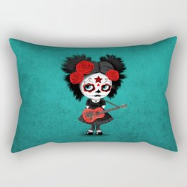 Day of the Dead Girl Playing Albanian Flag Guitar Rectangular Pillow