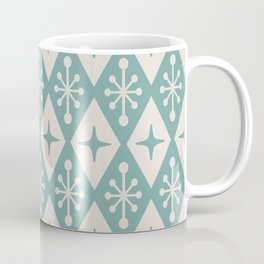 Mid Century Modern Atomic Triangle Pattern 711 Green and Beige Coffee Mug