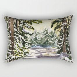 Wintery Landscape in Woods, Watercolour Painting Rectangular Pillow