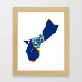 Guam Map with Guamanian Chamorro Flag Framed Art Print