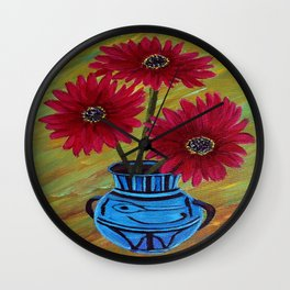 Blue vase with flowers/ still life  Wall Clock