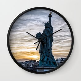 Sunset over Replica of the Liberty Statue in Paris Wall Clock