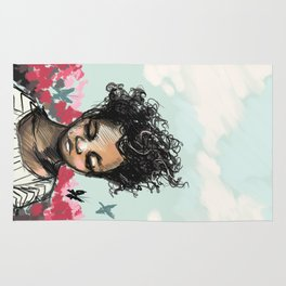Girl with Butterfles Rug