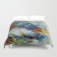 fandom Duvet Covers featuring Tardis doctor who jump into time Vortex by Three Second