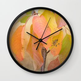 Painterly fall leaves Wall Clock