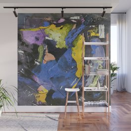 Dancing The Night Away Blue Black Yellow Abstract Wall Mural