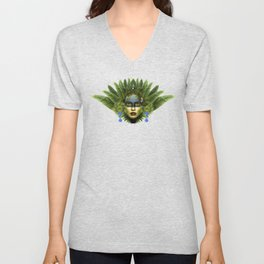 """Tropical green and indigo jungle Woman"" Unisex V-Neck"