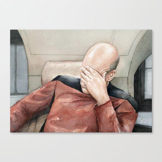 Picard Facepalm Meme Funny Geek Sci-fi Captain Picard TNG Canvas Print