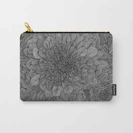 Black and White Floral Line Drawing Carry-All Pouch