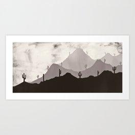 Arizona Desert Cactus Mountain Landscape Art Print