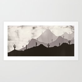 Arizona Desert Cactus Mountain Landscape Art Print
