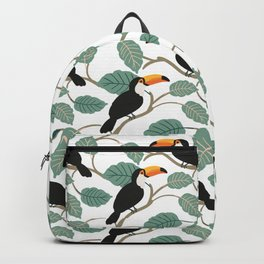 Toucan birds and palm leaves in the jungle Backpack