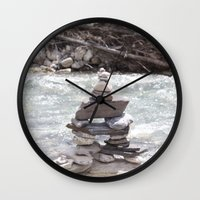 allyson johnson Wall Clocks featuring Johnson Canyon Inukshuk by RMK Creative
