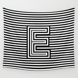 Track - Letter E - Black and White Wall Tapestry