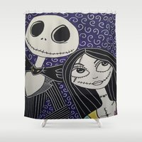jack skellington Shower Curtains featuring Jack Skellington and Sally by KittyOG