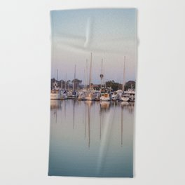 Sail Boats and Reflections in the Harbor Beach Towel