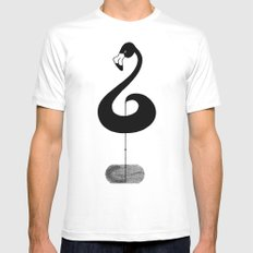 Musical Flamingo Mens Fitted Tee X-LARGE White