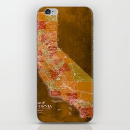 California Los Angeles old vintage map. Orange vintage poster for office decoration iPhone Skin