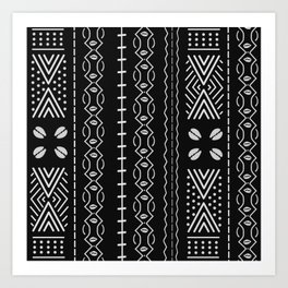 Black mudcloth with shells Art Print