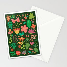 Garden Scatter - Warm Spring Colours on Dark Forest Green (floral pattern) Stationery Cards
