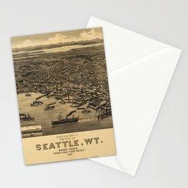 Bird's Eye View of Seattle, Washington (1884) Stationery Cards