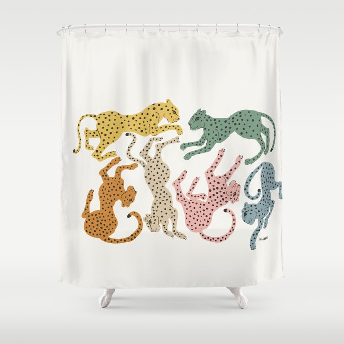 Rainbow Cheetah Shower Curtain
