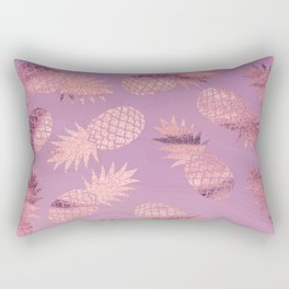 Pretty Pink & Rose Gold Pineapple Pattern Rectangular Pillow