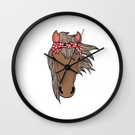 Horsing Shirt For Horse Lovers With Illustration Of A Horse With A Scarf On It's Head T-shirt Design Wall Clock