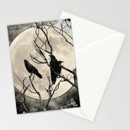 Black White Crows Birds Tree Moon Landscape Home Decor Matted Picture Print A268 Stationery Cards