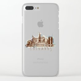 Columbus City, Ohio Skyline Graphic Clear iPhone Case
