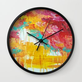 AUTUMN SKIES - Amazing Fall Colors Thunder Storm Rainy Sky Clouds Bold Colorful Abstract Painting Wall Clock