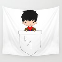 merlin Wall Tapestries featuring Pocket Warlock (Merlin) by wasabinokiki