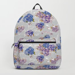 Hydrangeas and French Script with birds on gray background Backpack