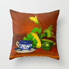Teacup with Squash Throw Pillow