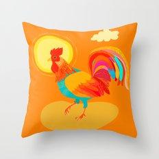 Orange Rooster Throw Pillow