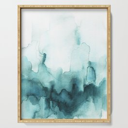 Soft teal abstract watercolor Serving Tray