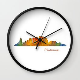 Phoenix Arizona, City Skyline Cityscape Hq v1 Wall Clock