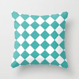 Large Diamonds - White and Verdigris Throw Pillow