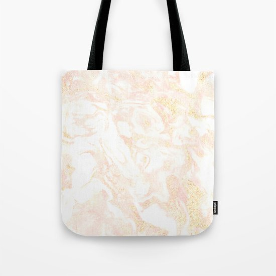 White Marble Pastel Pink and Gold by Nature Magick Tote Bag