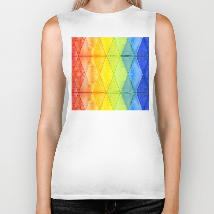 Geometric Abstract Rainbow Watercolor Pattern Biker Tank