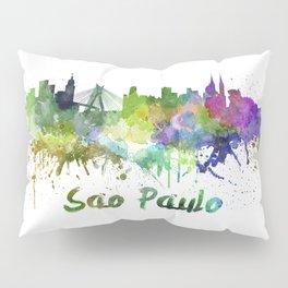 Sao Paulo skyline in watercolor splatters Pillow Sham