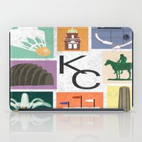 kansas city iPad Cases featuring Kansas City Landmark Print by Jenna Davis Designs
