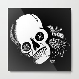 Sugar Skull, Bat & Jellyfish Metal Print