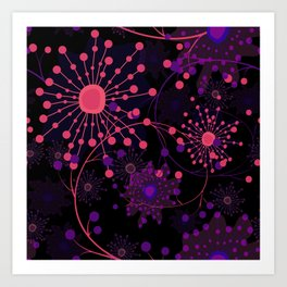 Pink fireworks . Abstract pattern . Art Print