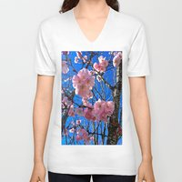 portland V-neck T-shirts featuring Portland Sakura by Casey J. Newman