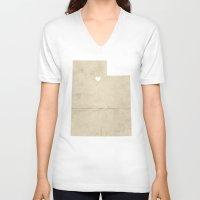 utah V-neck T-shirts featuring Salt Lake City, Utah by Fercute