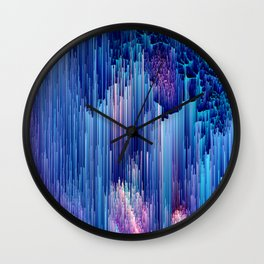 Beglitched Waterfall - Abstract Pixel Art Wall Clock